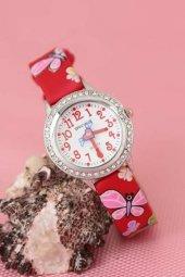 Kelebekli Desenli Kırmızı Renk Deri Kordonlu Taşlı Silver Kasa Çocuk Saati