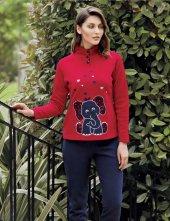 Mel Bee Fil Baskılı Kadın Pijama Takımı Kırmızı Mbp23633 1