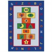 Sayılar Harfler Seksek Anaokulu Çocuk Odası Halısı 133x190 Cm
