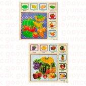 Eğitici Ahşap Tutmalı 2 İn 1 Set Sebze+meyve Öğrenme Çivili Puzzle Okul Öncesi Bultak Puzzle Oyuncak