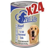 Pati Life Sığır Etli Konserve Yaş Köpek Maması 24 Adet 415 Gr