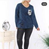 Göğüs Desenli Bluz Mavi