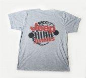 M T Shirt Sıfır Yaka Jeep Dijital Baskılı Gri