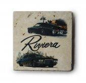 1971 Buick Riviera Baskılı Doğal Traverten Bardak Altlığı