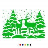 Yılbaşı Ağaçları Geyikli Sticker Yapıştırma 140x100cm