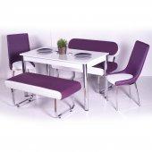 Mürdüm Beyaz Bank Takımı Mutfak Masası Yemek Odası Masa Sandalye