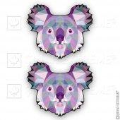 Polygonal Üçgen Tasarımlı Koala 2li Set Sticker Çınarextreme