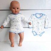 Mavi Biyeli Ayıcıklı Uzun Kollu Omuzdan Ve Alttan Çıt Çıtlı Bebek Badi Zıbın