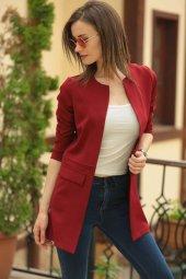 Kadın Bordo Beli Dikişli Uzun Ceket