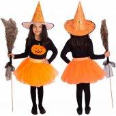 Cadı Kız Kostümü Etek Şapka Eşofman Tişört Süpürge Cadı Kostümü P