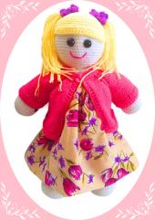 Damla Oyuncak Sarı Saclı Pembe Ceketli Kız,örgü Oyuncak,amigurumi