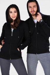 Sevgili Kombinleri Siyah Sweatshirt Kalın 3 İplik Fermuarlı