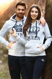 Sevgili Kombinleri Gri Kıng Queen Kapüşonlu Kanguru Cepli