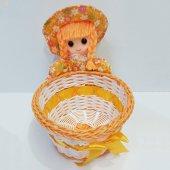 Peluş Askılı Bebek Sepeti Prenses Turuncu