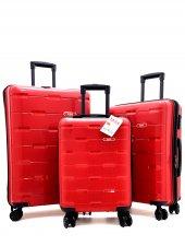 Abs Kırmızı Renk Kırılmaz 3' Lü Plastik Valiz Seti