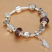 özel Charmlı Bileklik Trend Model Gümüş 14 Subat Sevgiler Günü