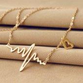 Kalp Ritim Model Takı Kolye Gümüş Altın Kaplama