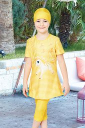çizgili Çocuk Yarım Kapalı Mayo 5033 Sarı