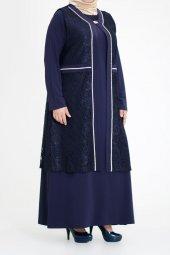 B40010 Büyük Beden Güpür Yelekli Sandy Elbise Lacivert