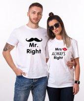 Tshirthane Mr. Mrs. Always Right. Sevgili Kombini Tişörtleri