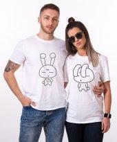 Tshirthane Sevimli Tavşan Sevgili Kombini Tişörtleri