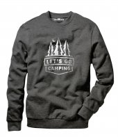 Tshirthane Lets Go Camping Çam Erkek Uzun Kollu Sweatshirt