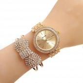 Spectrum Marka Altın Sarı Metal Koronlu Bayan Saat Kombini