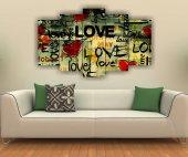 Love Kalp Dekoratif 5 Parça Mddf Tablo