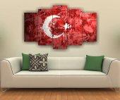 Türk Bayrağı Dekoratif 5 Parça Mdf Tablo