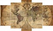 Eski Dünya Haritası Dekoratif 5 Parça Mdf Tablo