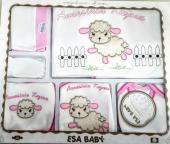 Hastane Çıkışı Zıbın Seti Esa Baby 10 Lu Annesinin Kuzusu İşlemeli