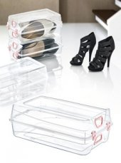 Bayan Ayakkabı Saklama Kutusu Kilitli Ayakkabı Kutusu 33x20x11cm