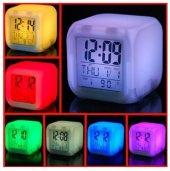 7 Renk Değiştiren Masa Saati Termometre Alarm Ve Takvim