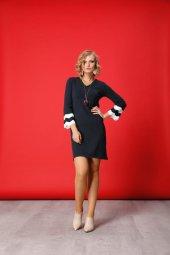 Si V Yaka Kol Ucu Detaylı Bayan Triko Elbise 3263 Gri Melanj