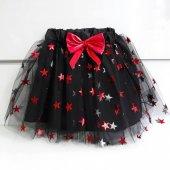 Kırmızı Kurdelalı Simli Yıldızlı 23 Nisan Kız Çocuk Etek Elbise