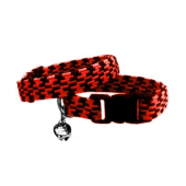 Elastik Örme Kedi Tasması Kırmızı Siyah 10 Mm A 23 32 Cm