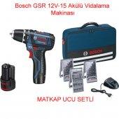 Bosch Gsr 12v 15 Tool Bag Prof. 2,0 Amper Akülü Matkap 3 Set Aksesuar Hediyeli