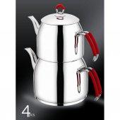 Ceylin Kallavi Çelik Çaydanlık Takımı Aşiret Boy Kırmızı