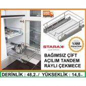 Starax Bağımsız Çift Açılım Raylı Çekmece Mutfak Dolapiçi 86 88cm