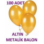 100 Adet Metalik Altın Gold Renk Balon 1.kalite
