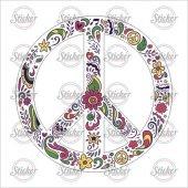 çiçekli Peace Simgesi Sticker 20145