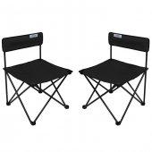 Romee Katlanır Bahçe Kamp Sandalyesi Kolsuz Siyah 2 Li Set