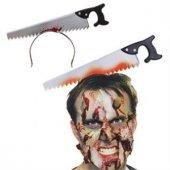 Halloween Kafaya Giren Testere Şakası Kafa Testeresi