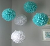 Ponpon Çiçek 5li Mavi Gri Beyaz