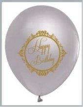 Silver Gümüş Üzeri Gold Renk Happy Birthday Baskılı Balon 50 Adet