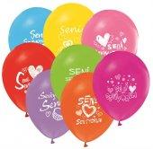 Seni Seviyorum Baskılı Karışık Renk Balon 50 Adet