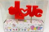 Sevgililer Günü Kırmızı Love Yazan Mum