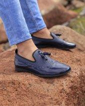 Lfg Hasır Desenli Rugan Lacivert Püskül Detaylı Günlük Ayakkabı