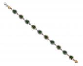 Zirkon Ve Yeşil Ruby Taşlı Damla Tasarım 925 Ayar Gümüş Bayan Bileklik