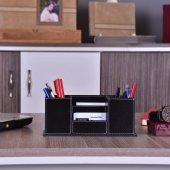 Masa Üstü Siyah Deri Kaplamalı Ofis Kalemlik